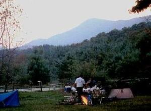 bonfire at campsite