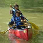 2 boys canoeing