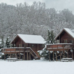 snow at cabins