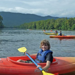mountain view and kayaks