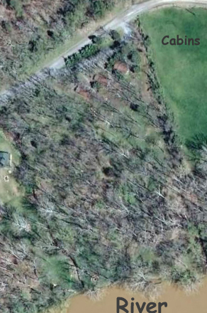 Google earth of small river cabins