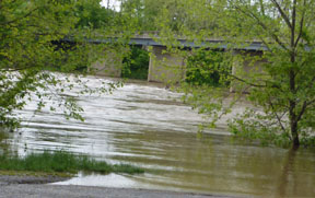 Low water Bridge under water