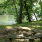 Firepit on Shenandoah River at cabins Luray